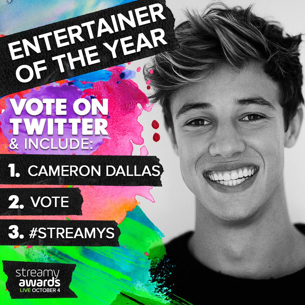 How To Vote for Cameron Dallas for Streamys Entertainer of the Year