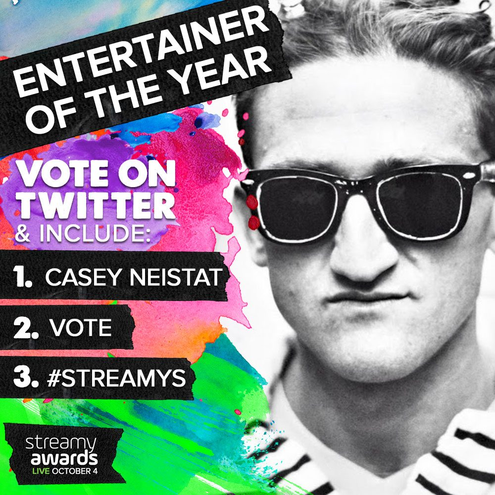 How To Vote for Casey Neistat for Streamys Entertainer of the Year